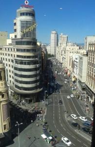 Gran Via vista dai grandi magazzini Cortes Inglés